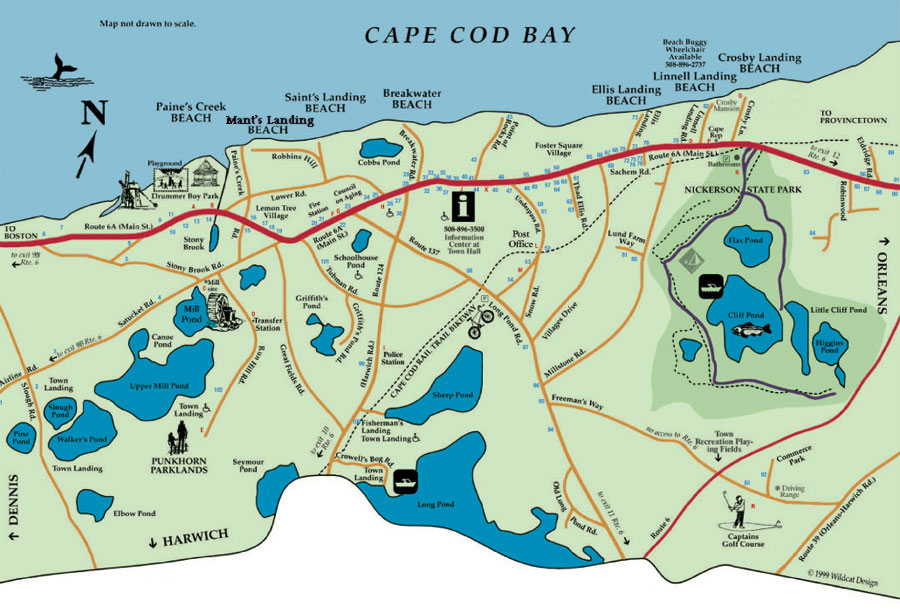Map of beaches in Brewster, MA