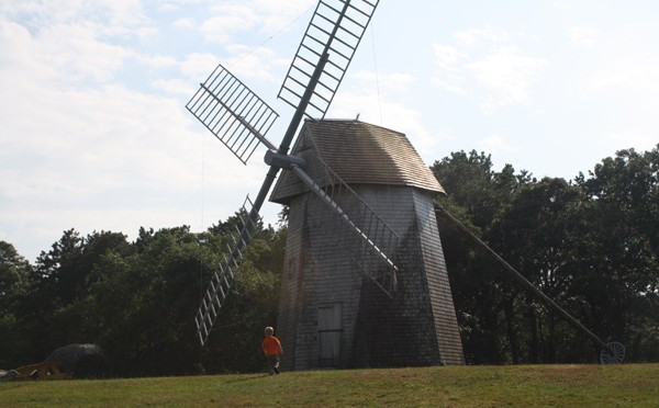 the windmill in drummer boy park in dennis, ma