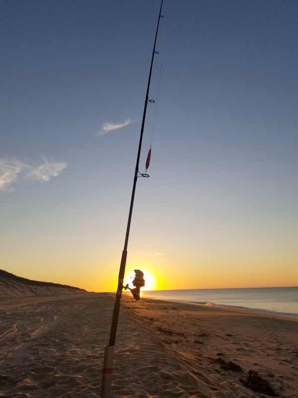 A fishing rod silhouetted in the sunset at Head of the Meadow Beach in Truro, MA