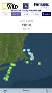 The Sharktivity app provides info on great white shark sightings on cape cod.