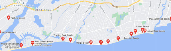 This map shows beaches in Dennis where dogs are allowed, but only in the off-season.
