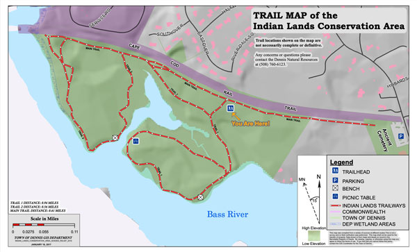 Trail Map of the Indian Lands Conservation Area in Dennis, MA.
