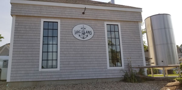 Hog Island Brewing Co. in Orleans on Cape Cod allows dogs on their outside seating area, but not inside.
