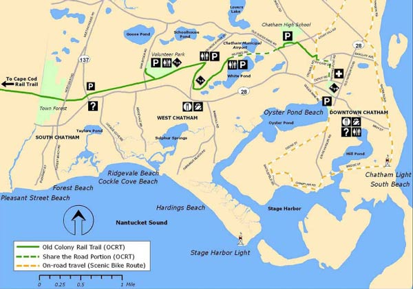 Map of the Old Colony Rail Trail in Chatham, MA